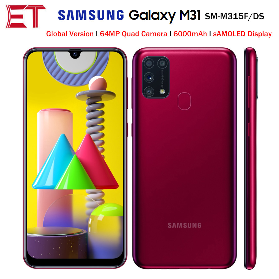 """Global Version Samsung Galaxy M31 M315F/DS Mobile Phone 6GB 64GB Octa Core 6.4""""1080x2340P 6000mAh 48MP NFC Android10 Smartphone