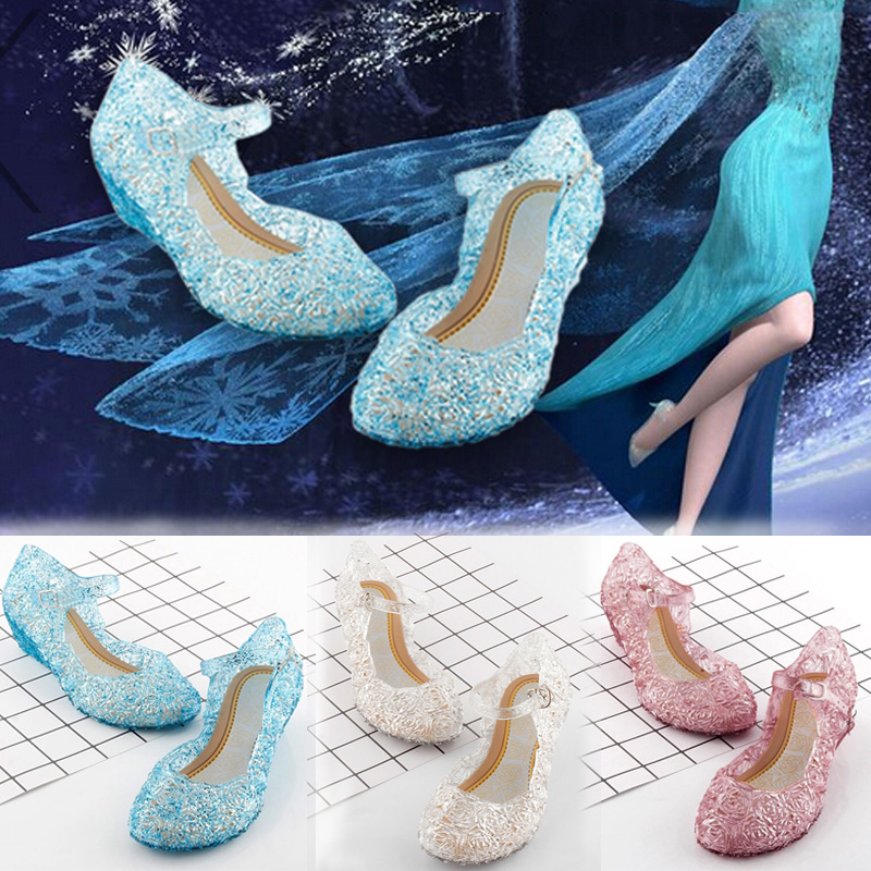 Princess Anna Elsa Shoes Cinderella Crystal Costume Shoes Baby Girls Cosplay Costume Sandals Party Princess Elsa Shoes For Girls