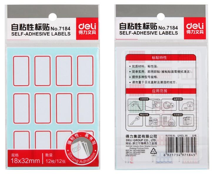 Wholesale Deli 7184 Stick Label Self-Adhesive Label Paper Self-adhesive Label Sticker (18X32 Size)-Writing