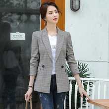 High quality professional ladies jacket New long-sleeved slim plaid suit large size Winter womens clothing 2019