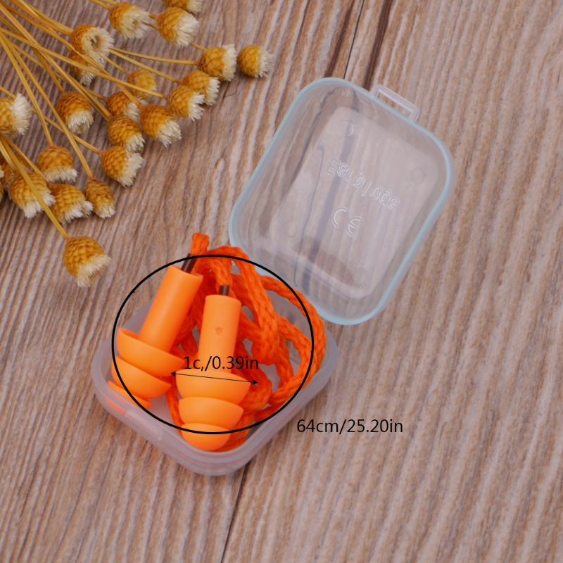 Soft Silicone Wired Ear Plugs Noise Reduction Caps Earmuffs Hearing Protection M5TB