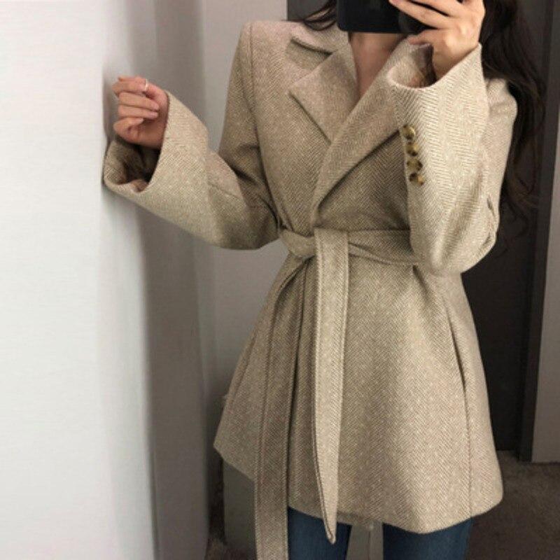 OL Faux Wool Blends Slim Jacket Female Overcoat With Sashes Small Suit Autumn Coat Jackets For Women Manteau Cloak Uk Tweed Za