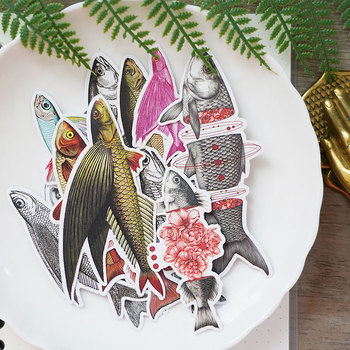 16 unids/bolsa diario de basura serie de peces marinos pegatina para álbum de recortes DIY álbum de semana diario planificador feliz pegatina de decoración