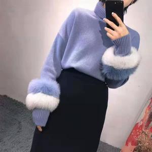 Image 2 - 女性の冬のタートルネックニットセーター Lrregular 裾ルースプルオーバー長袖フェイクミンクの毛皮のセータージャンパー