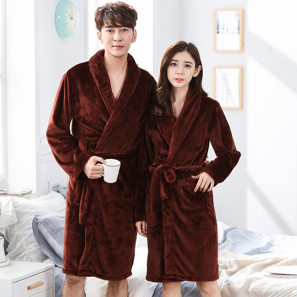 Negligee Pajamas Kimono Nightwear Winter Robe Coral Fleece Flannel Sleepwear Nightgown Lovers Home Clothing Bath Women&men