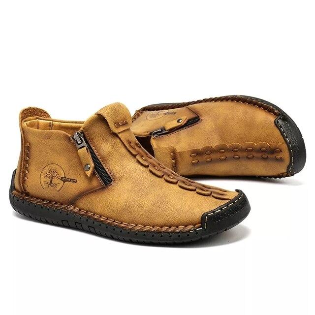 Классические зимние мужские ботинки мокасины 5