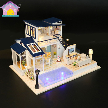 DIY Model Toy Cabin Acousto-optic Creative Christmas Gift Puzzle Assembly Diy Doll House Diy Doll House Wooden Doll House