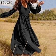 Plus rozmiar ZANZEA czeski Sundress damskie bufiaste rękawy długi zwykły Maxi sukienka Sexy V neck Casual luźna patchworkowa sukienka plażowy płaszcz kąpielowy