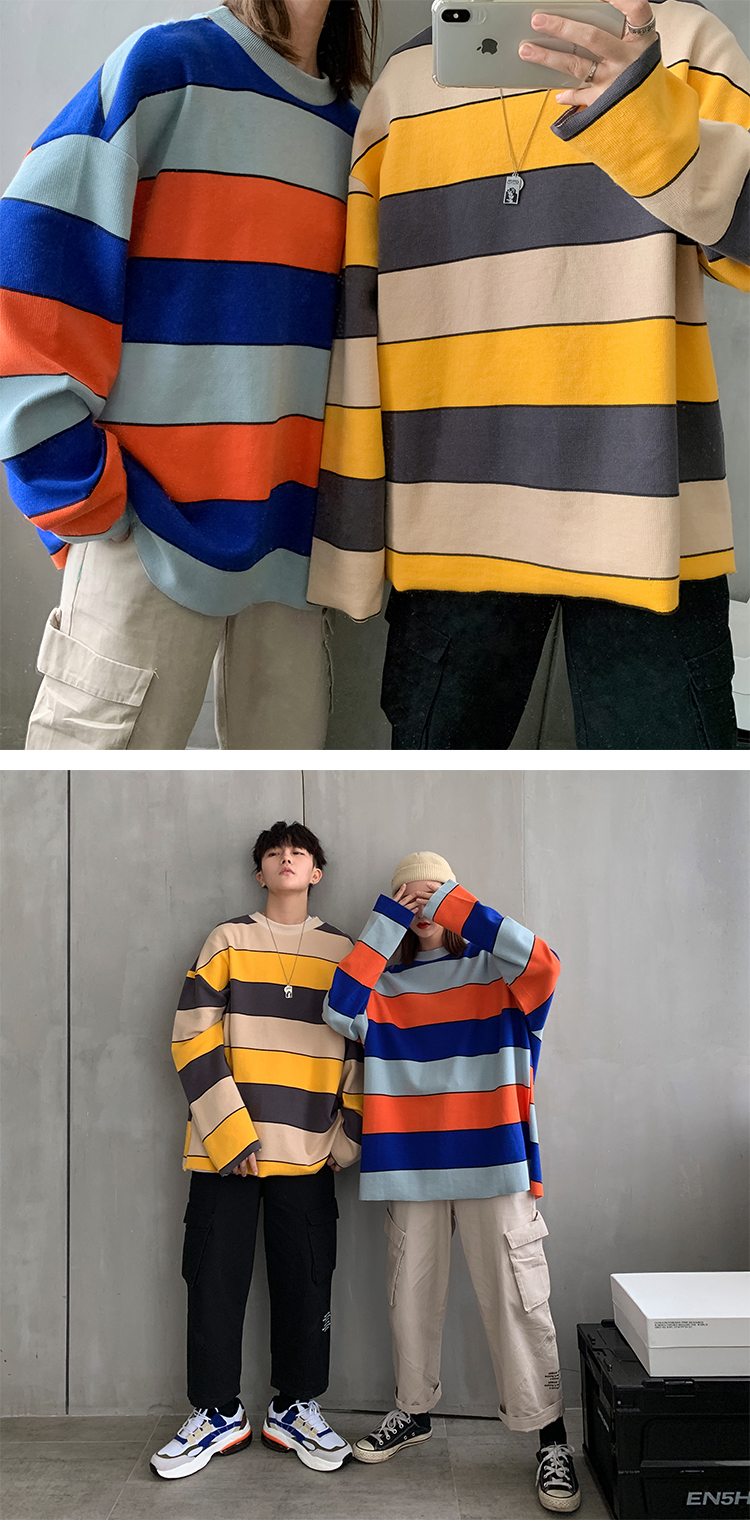 Colorful Striped Casual Sweatshirts