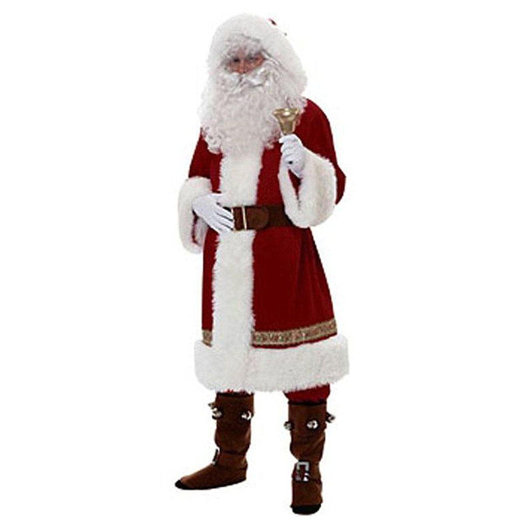 Hot Christmas Santa Claus Costume Cosplay Santa Claus Clothes Fancy Dress Christmas Men Women 5pcs/lot Cosplay Suit For Adults
