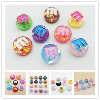 Wholesale Cute Glitter Resin M Beans Kawaii Flatback Resin Cabochons Cream M Chocolate Bean Resin DIY Earrings necklace pendant