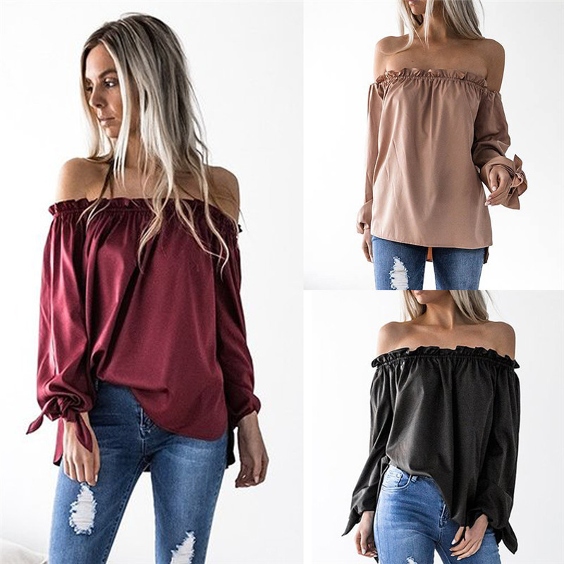 High Quality Women Blouse Shirts Sexy Slash Neck Strapless Cuffs Knotted Solid Shirt lantern-sleeve Tops Chiffon Female Clothes