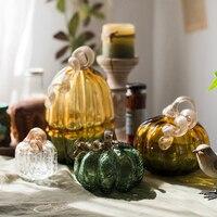 Creative Color Glass Pumpkin Figurines Hand blown Crafts ornaments gardening Halloween decoration gift Fruits Miniatures