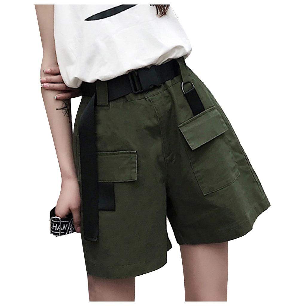 Women's High Waist Pants New Loose Pocket Short Overalls Add A Belt Fashion Spring Summer Casual Loose Hip Hop Pantalones YL5