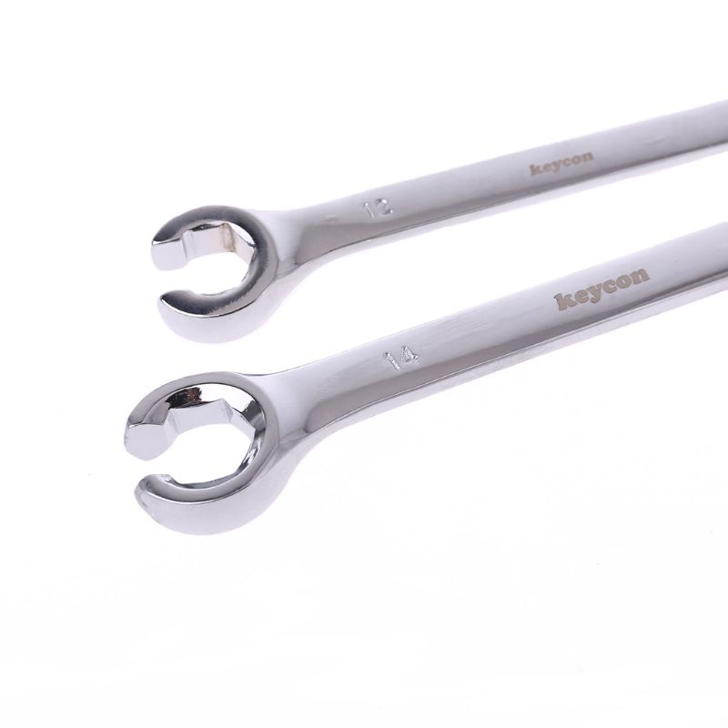 2Pcs 10x12mm 12x14mm Flare Nut Wrench Brake Pipe Spanner Set Six Point Socket Tools For Vehicle Repairing