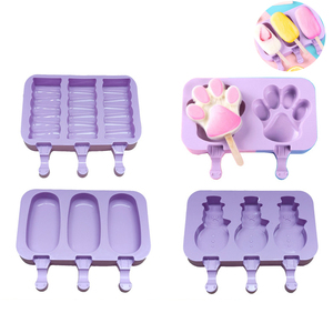 Cute DIY Ice Cream Mold Fozen Ice Cube Molds Popsicle Maker Homemade Freezer Ice Lolly Mould with Sticks Ice Cream Bar Molds(China)