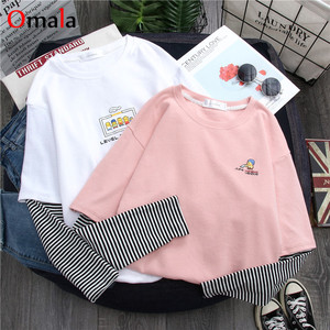 2020 spring harajuku long Sleeve T shirt Women Hip-hop streetwear Tees Korean stripe cartoon print T-shirts Girls pink white top
