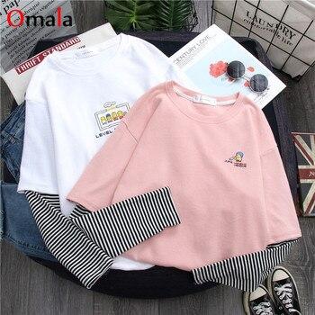 2020 spring harajuku long Sleeve T shirt Women Hip-hop streetwear Tees Korean stripe cartoon print T-shirts Girls pink white top - discount item  27% OFF Tops & Tees