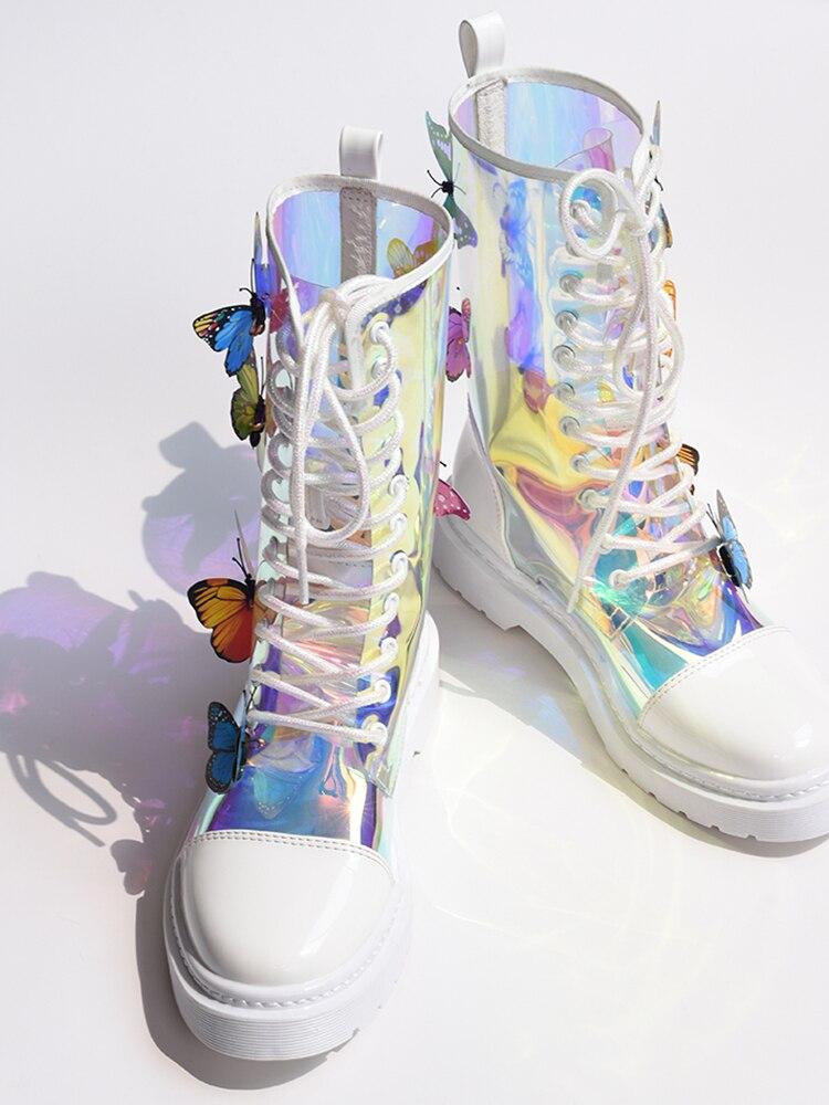 2019 г., Новое поступление, прозрачные разноцветные полусапожки на плоской подошве с бабочкой Новая женская обувь на шнуровке с круглым носком на рифленом каблуке