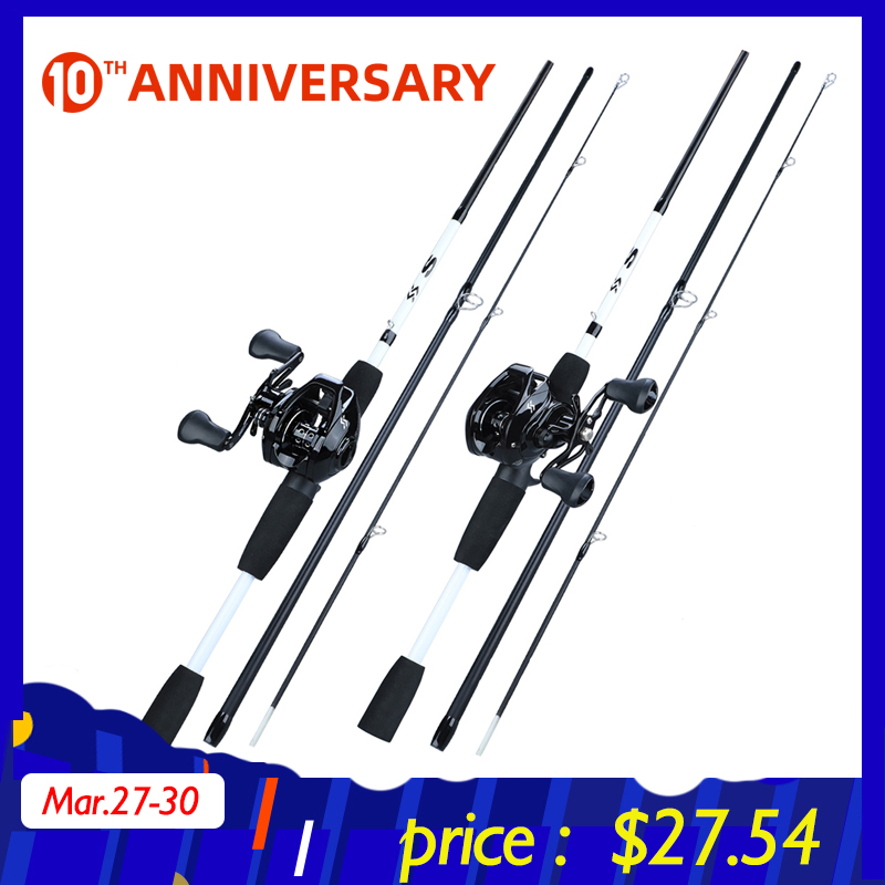 Sougayilang New1.75m Fishing Rod Reel Combo Portable3 Section Carbon Fishing Rod With12+1BB Baitcasting Reel Fishing Tackle Set