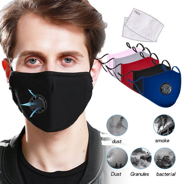 Mouth Mask With filter Anti Pollution PM2.5 Dust Respirator Washable Reusable Masks Cotton Unisex Mouth protective mask 2