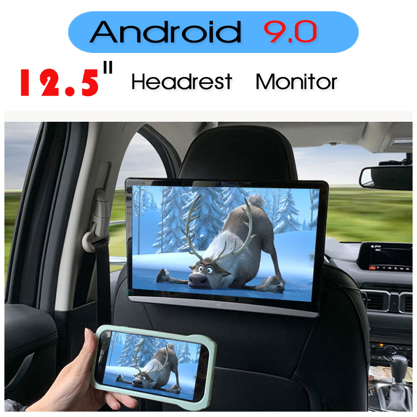 KANOR 12.5 Inch Android 9.0 Car Headrest Monitor 1920*1080 HD 1080P Video Touch Screen WIFI BT USB SD HDMI FM MP5 Video Player