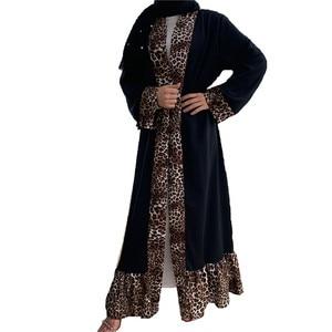 New Muslim fashion abaya kaftan islam women's clothing leopard print fashion abaya cardigan kimono women's robe islamic MSL208