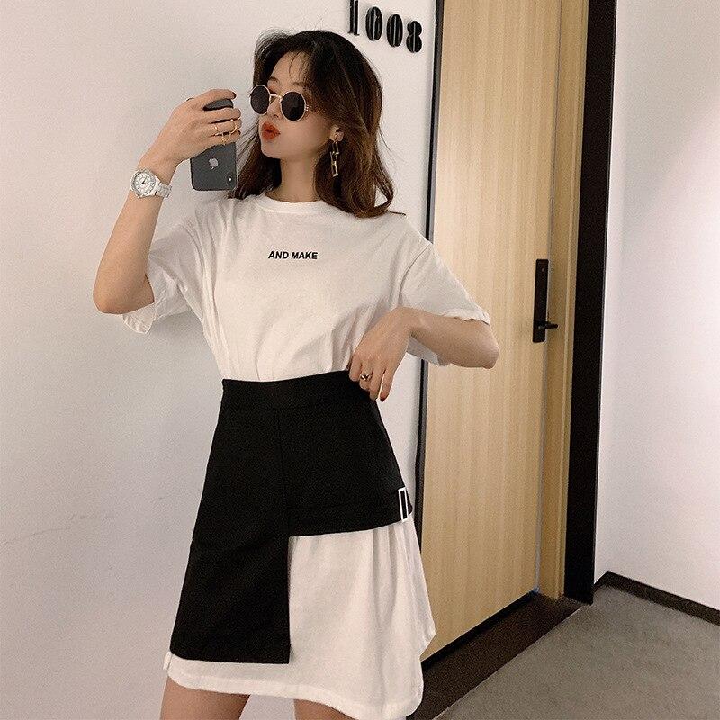 Summer Cool Fashion Mid-length T-shirt Irregular Skirt Two-Piece Set