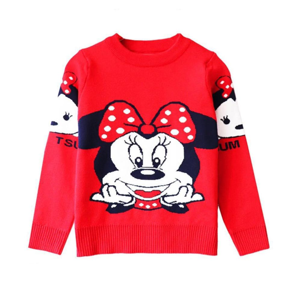 Cartoon Mickey Children's Clothing Plush inside winter boy girl kid thick Knitted high collar pullover fluff kids Sweaters 6