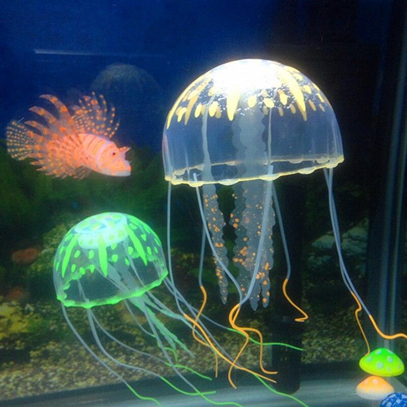 1 шт. аквариумная Медуза искусственная светящаяся Эффект Аквариум Украшение аквариума подводный пейзаж безопасный Декор товары для домашн...