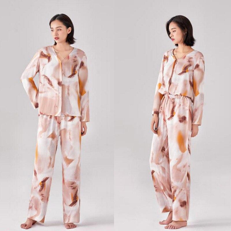 2019 Autumn Womens 2pc Pajamas Set Printing Long Sleeve Shirt Pants Trousers Pajama Nightwear Sleepwear Loungewear Pyjamas Suit