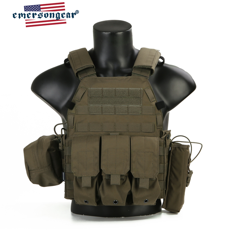 Emersongear  LBT6094A Style Tactical Vest Plate Carrier W 3 Pouches Airsoft Military Army Gear Ranger Green  Armor Vest