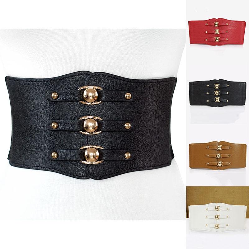 New Vintage PU Leather Women's Wide Belt Fashion Metal Buckle Waistband Rivet Ultra Wide Elastic Female Belt High Quality