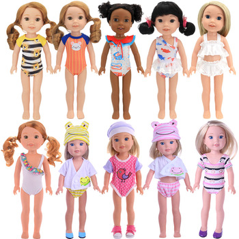 Fashion Doll Baby Clothes Swimsuits For 14.5 inch Wellie Wishers Nancy American Doll Our Generation Girl`Toy Gift Free Shipping image