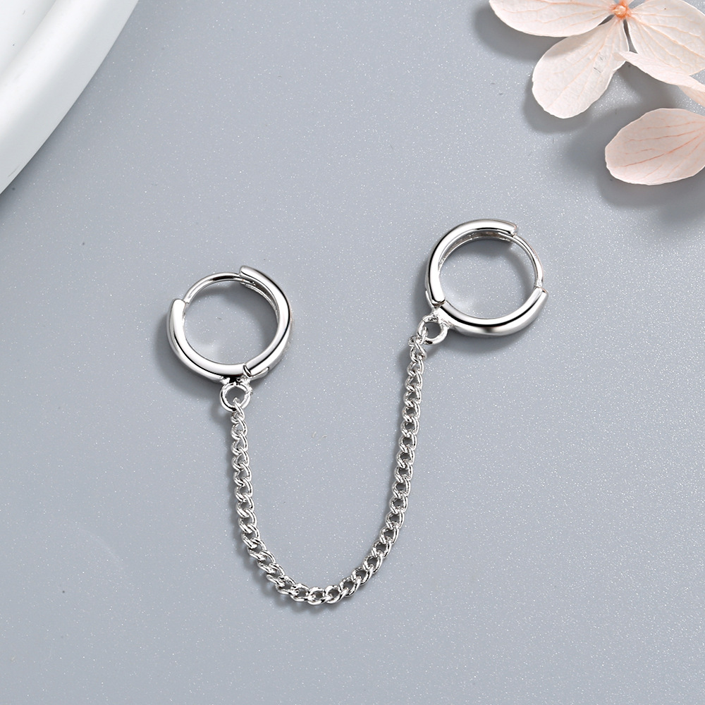 1 PCS 925 Sterling Silver After The Ear Chain Earrings For Women Christmas Gift Pendientes Aretes De Mujer EH1294