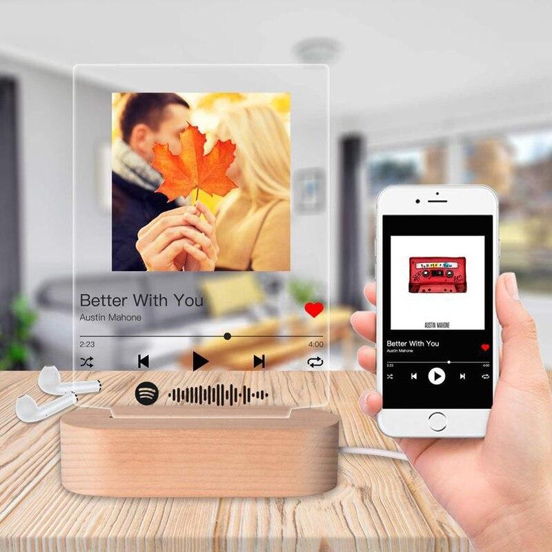 Индивидуальная акриловая Обложка для фотоальбома с деревянной основой, Ночной светильник, персонализированный постер для сканирования ко...