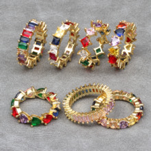 PARIS New Design Personality Rainbow Colorful Rings gorgeous Cubic Zircon Trendy Romantic ring For Women Party Wedding Jewelry