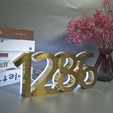 Gold Color White Light Metal 3D Led Modern House Number Sign Outdoor Waterproof Hotel DoorPlate Lettre Address Number for House house number outdoor led solar light motion sensor door number plate house address numbers and letters waterproof doorplate