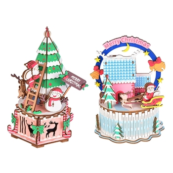 Christmas Creative Music Box DIY Wooden Music Box Home Decoration Mini Assembly Model Music Box music