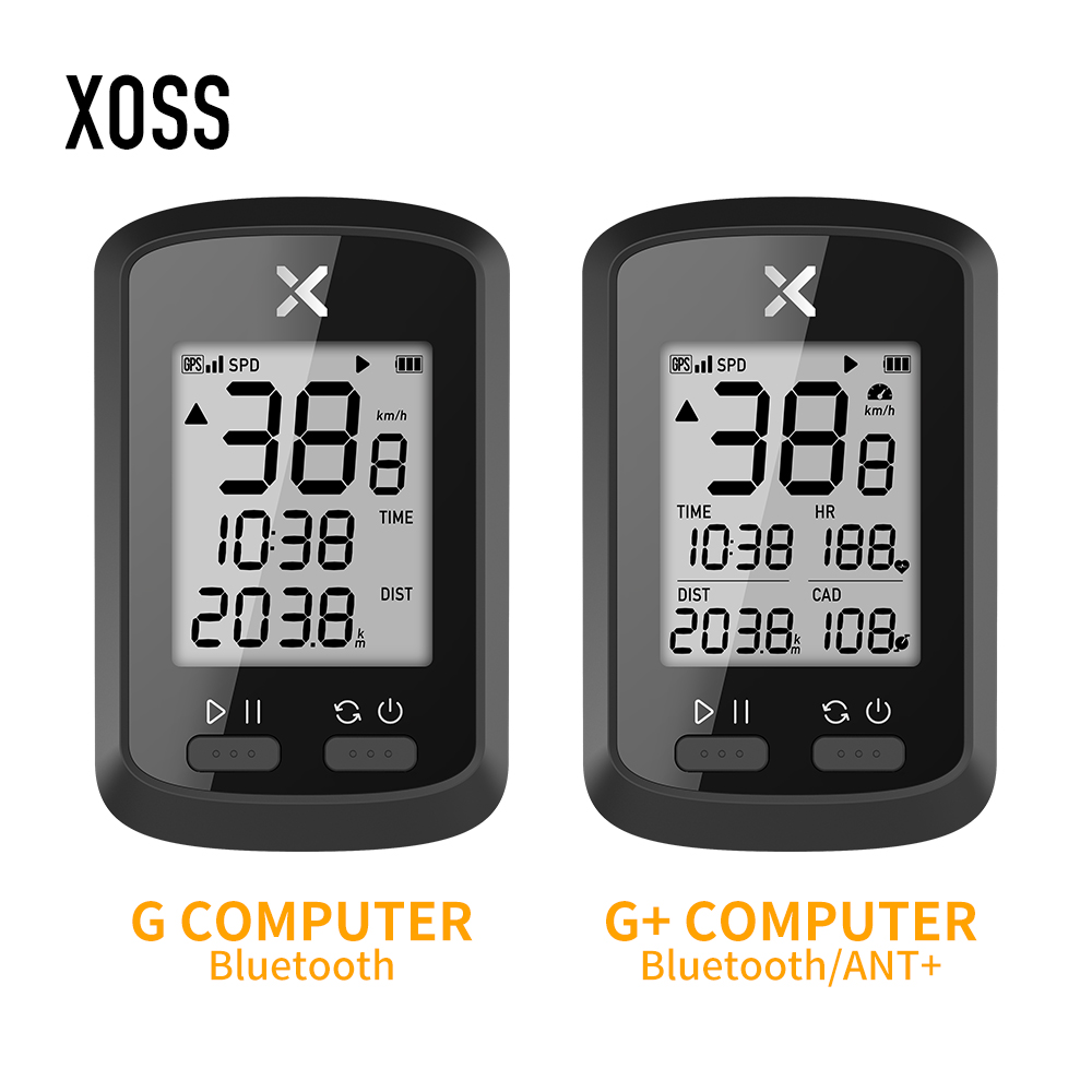 XOSS G+ GPS Bike Cycyling Computer Waterproof IPX7 Bluetooth 4.0 ANT+ Digital Cadence Speed Heart Rate Backlight Speedometer title=