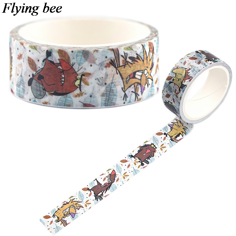 Flyingbee 15mmX5m Cute Paper Washi Tape The Angry Beaver Adhesive Tape DIY Scrapbooking Sticker Label Masking Tape X0555