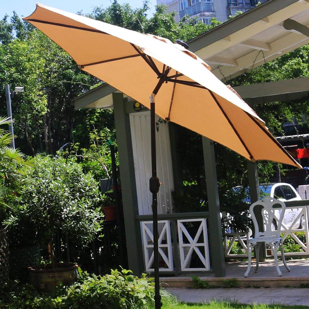 SOKOLTEC Adjustable Outdoor Parasol Sun Shade Umbrella Beach Patio Tilting Umbrella Parasol Protection Ultraviolet-proof