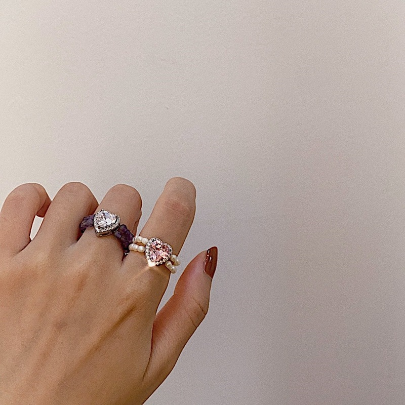 2020 Новое многоцветное кольцо в форме сердца с натуральным жемчугом и кристаллом, эластичное регулируемое кольцо для женщин, модное Ювелирн...