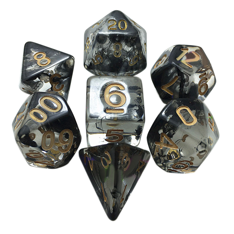 New 7pcs/set Translucent Black Dice Set Polyhedral Dices with Bag For RPG Dungeons Dragons Board Games Dice Set image