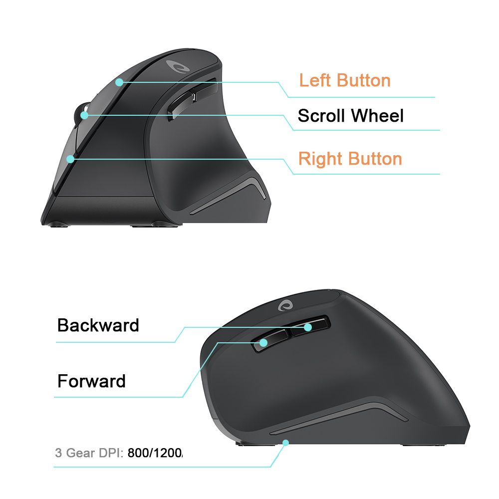 Image 4 - DAREU LM108G 2.4Ghz Wireless Vertical Mouse 6 button 1600 DPI Ergonomic skin type Mice For PC Laptop Computer OfficeMice   -