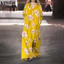 Czeski Maxi długa sukienka 2021 VONDA kobiety Floral wydrukowano Party Dress Femme szata Plus rozmiar Vestidos wakacje letnia sukienka plażowa tanie tanio CN (pochodzenie) Wiosna Poliester Luźne Women Dress Vestidos Autumn Sundress Skręcić w dół kołnierz Pełna REGULAR
