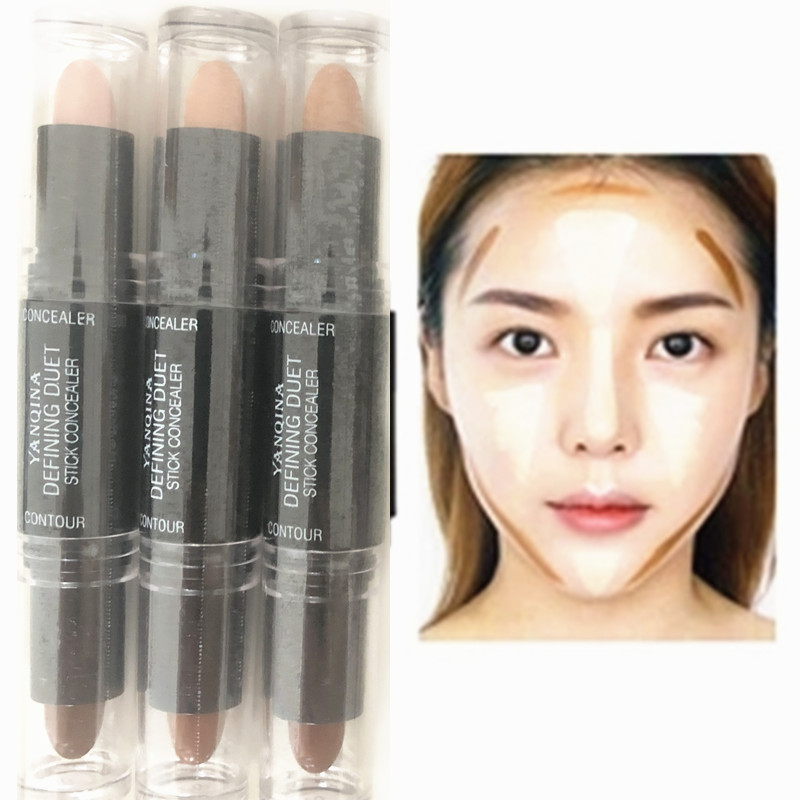 Facial Concealer High-gloss Foundation Foundation Contour Stick Beauty Makeup Cream Concealer Camouflage Pen 2-in-1 Double-heade image