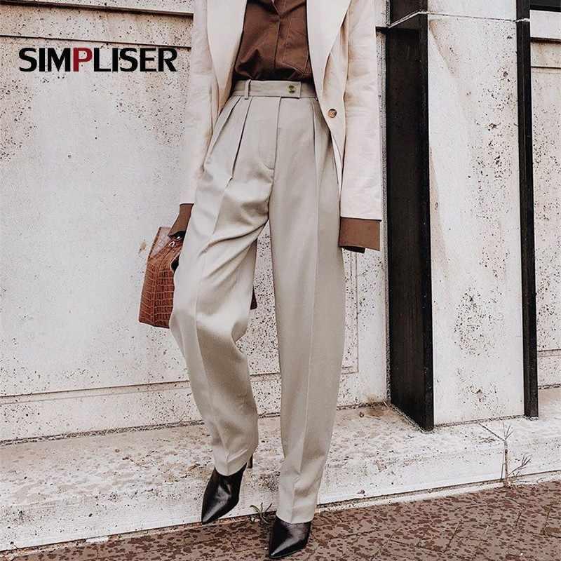 Traje De Cintura Alta Para Mujer Pantalones Rectos Holgados De Seda Helada Para Trabajo De Dama Pantalones Elegantes De Vestir Caqui Para Mujer 2020 Pantalones Y Pantalones Capri Aliexpress