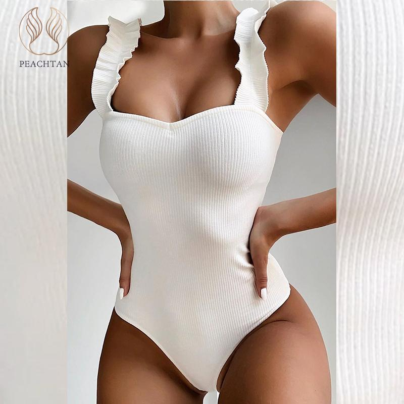 Peachtan <font><b>Sexy</b></font> high cut bodysuit bikini <font><b>2019</b></font> Solid white <font><b>swimsuit</b></font> <font><b>one</b></font> <font><b>piece</b></font> monokini Ruffle swimwear <font><b>women</b></font> bathers bathing suit image