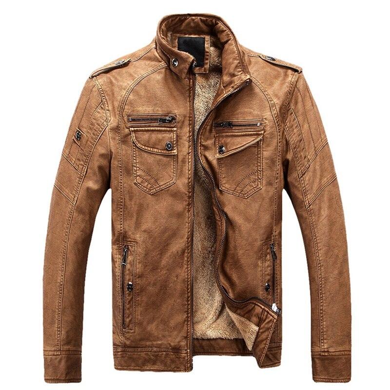 Jackets Coat Chaqueta-Cuero Moto Luxury Masculino Slim Autumn Couro Zipper Fleece Warm